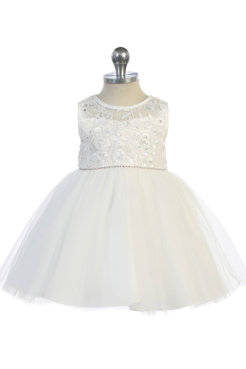 ivory tip top kids Illusion Neckline with Lace Applique Bodice for Baby Girls available at carmens designs