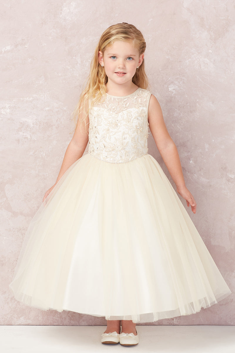 carmens designs champagne Illusion Neckline with Lace Applique Bodice dress for flower girl