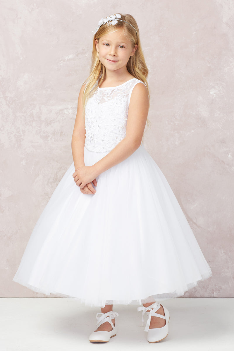 carmens designs white Illusion Neckline with Lace Applique Bodice and Rhinestone Belt for communion