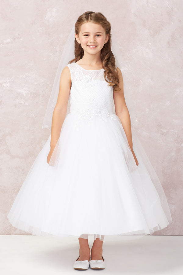 Diagonal Embroidery with Lace Applique and Soft Mesh Bottom Dress from tip top kids