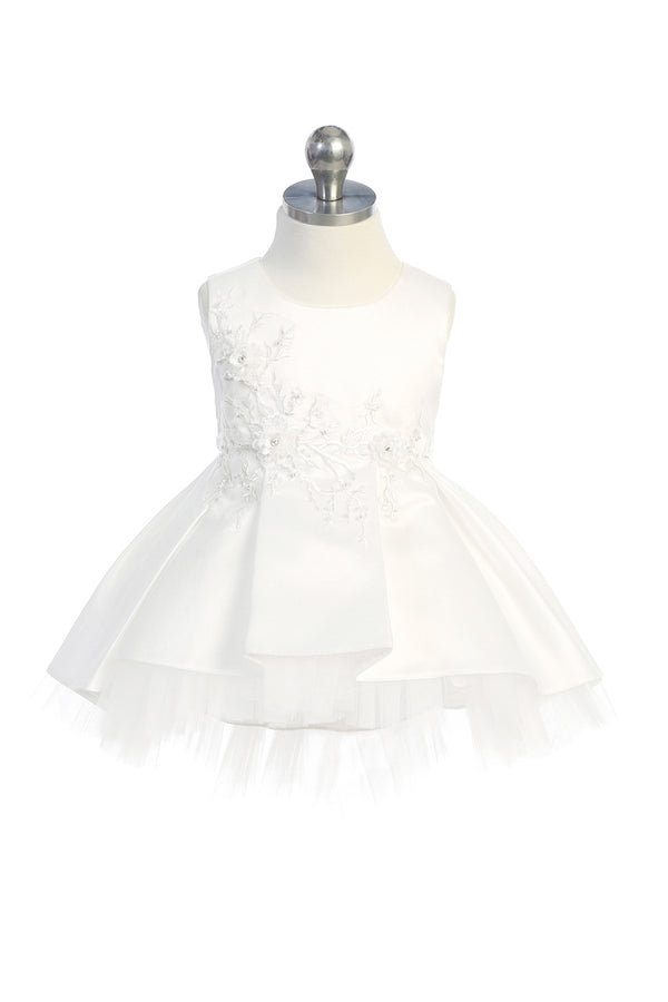 white baptism dress with floral lace applique bodice and tulle high low bottom available at carmens designs toronto