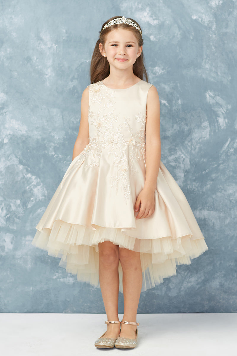 carmens designs champagne party dress with floral lace applique bodice and tulle hemline