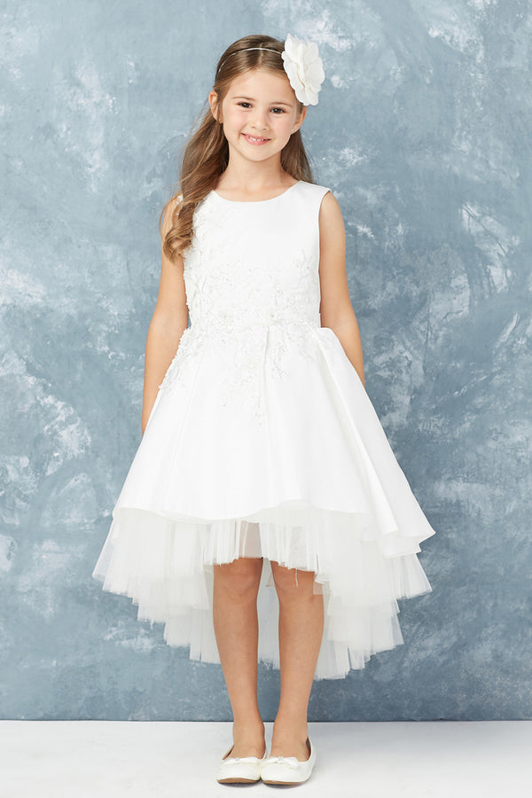 white first communion dress with floral lace applique bodice and tulle hemline from carmens designs toronto
