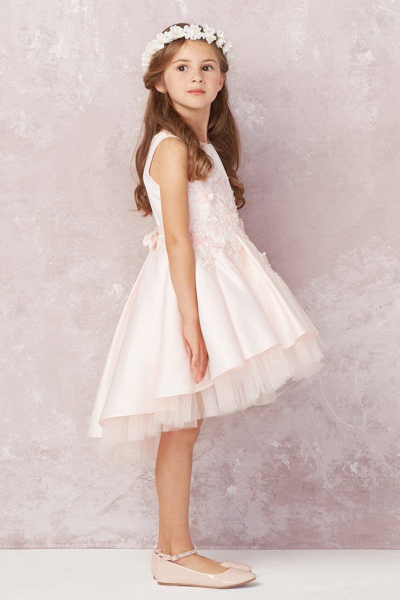 carmens designs blush flower girl dress with floral lace applique bodice and tulle high low bottom