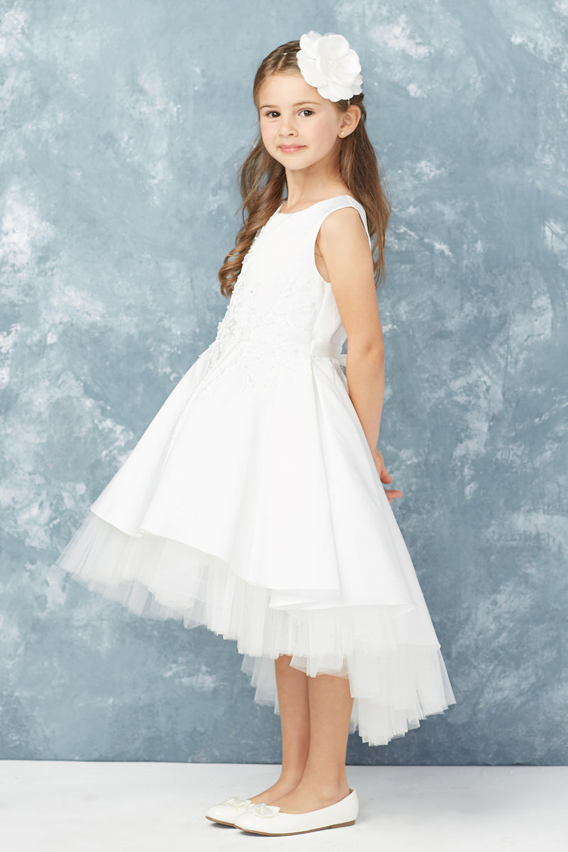 carmens designs white first communion dress with floral lace applique bodice and high low bottom