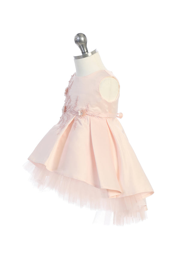 flower girl dress with floral lace applique bodice and tulle hemline high low bottom available at carmens designs toronto