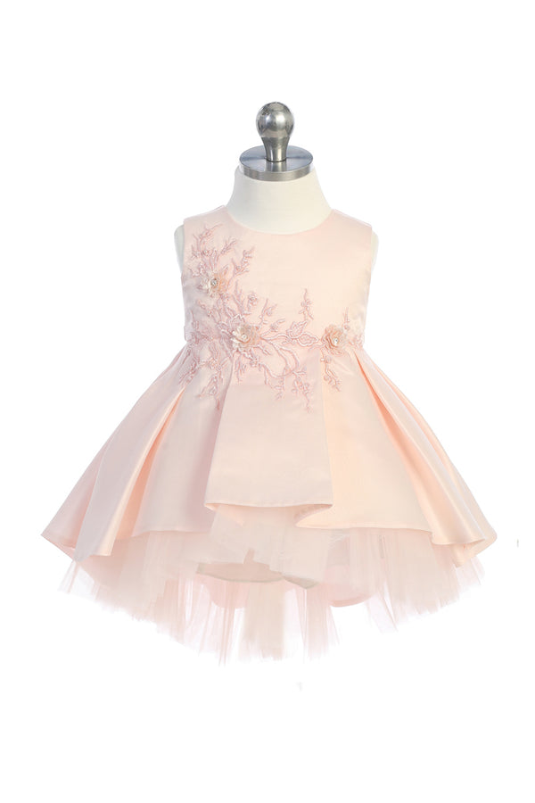 blush flower girl dress with floral lace applique bodice and  High Low bottom available at carmens designs toronto