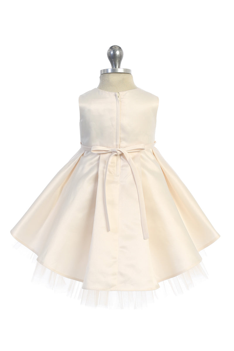 champagne baby flower girl dress with floral lace applique bodice and tulle high low bottom available at carmens designs toronto