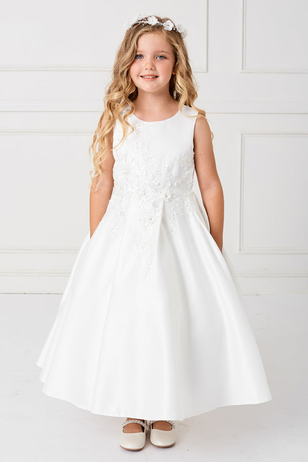 carmens designs white first communion satin dress with Flower Embroidery and Pearls Accent