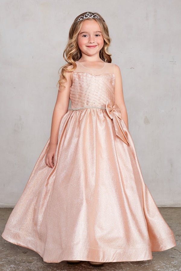 carmens designs Glitter Fabric Dress With Pleated Bodice And Illusion Neckline