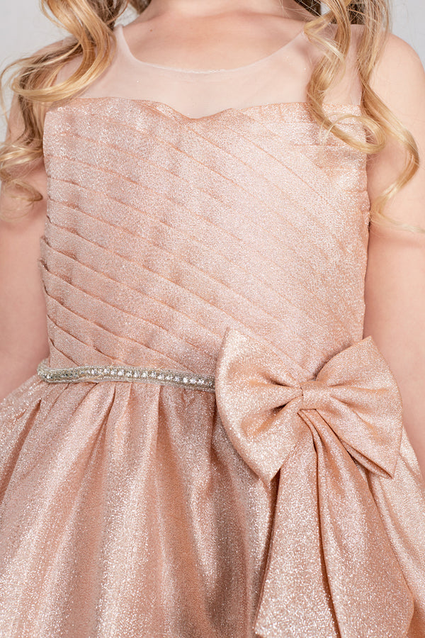 rose gold Glitter Fabric Dress for flower girl available at carmens designs toronto