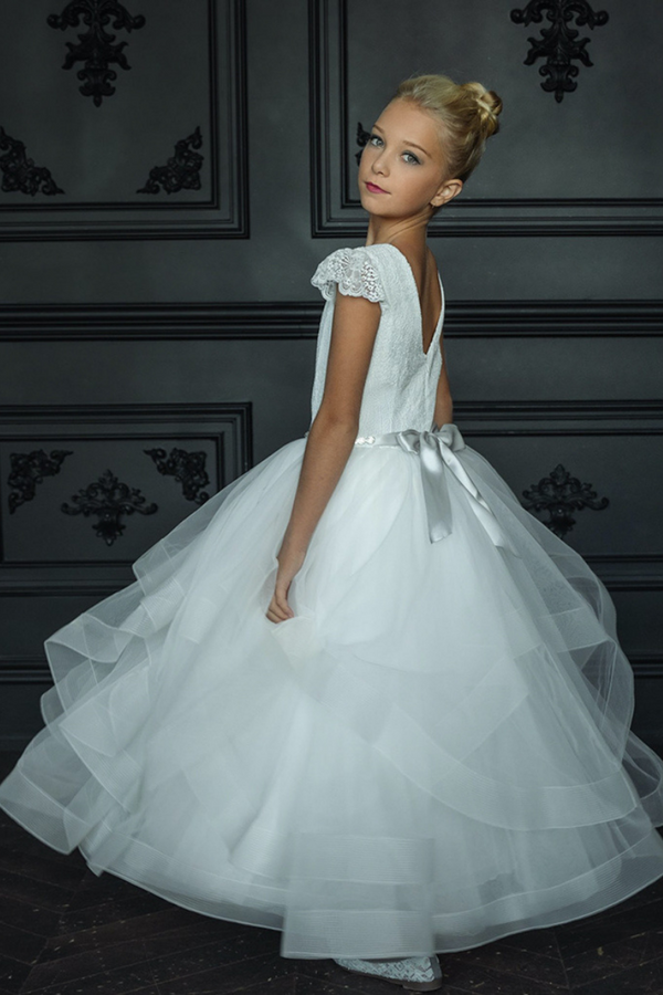 carmens designs communion dress lace cap sleeves and bodice with horsehair tulle skirt - G02