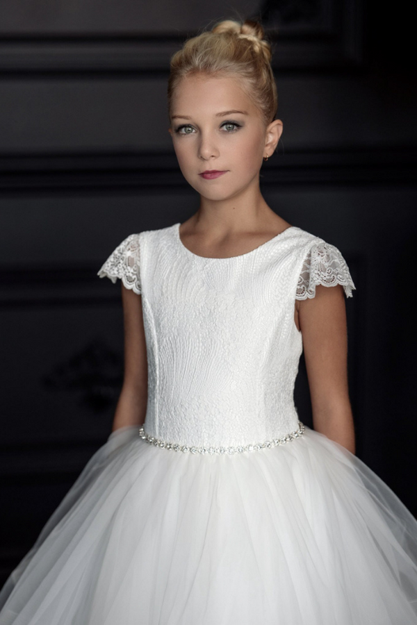 teter warm communion lace cap sleeves and bodice with horsehair tulle skirt dress