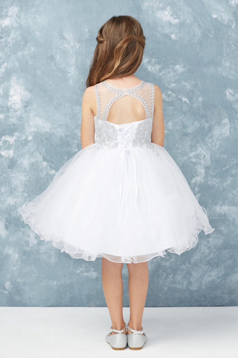 carmens designs short white first communion Dress with embroidery embellishments