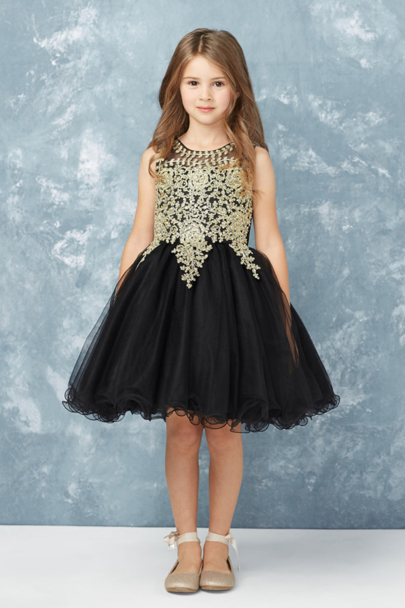 black party dress with gold embroidery embellishments from carmens designs toronto