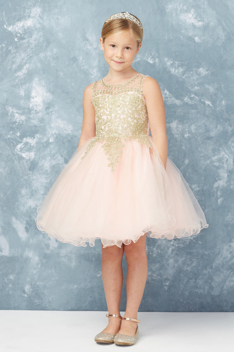 blush flower girl dress with gold embroidery embellishments from carmens designs toronto
