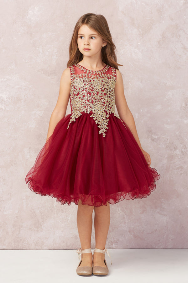 burgundy Short Pageant Dress with Gold Lace available at carmens designs toronto