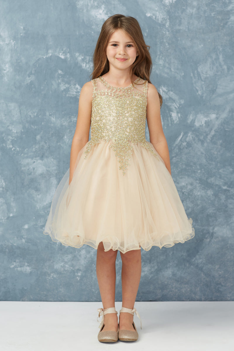 champagne flower girl dress with gold embroidery embellishments from carmens designs toronto