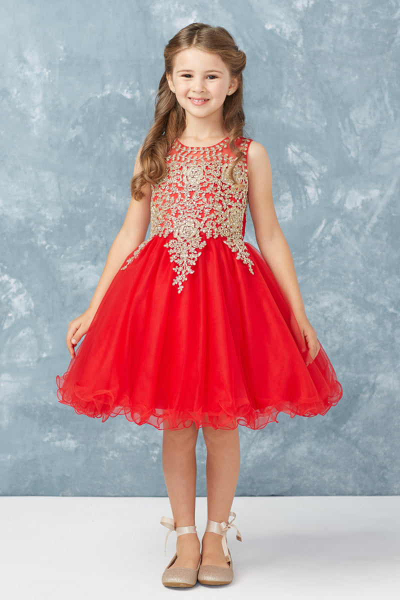 red formal party dress with gold embroidery embellishments from carmens designs toronto