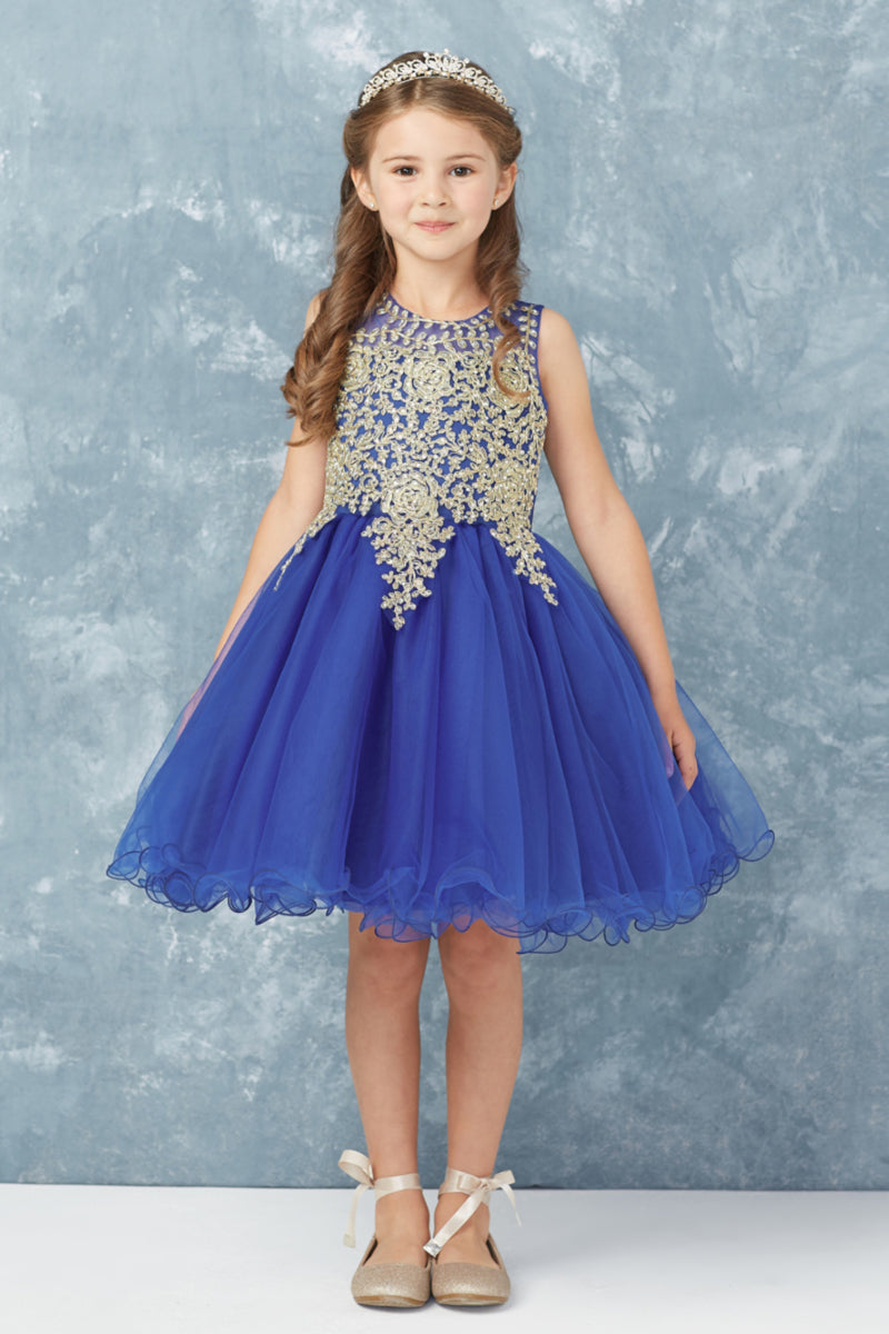royal blue party dress with gold embroidery embellishments from carmens designs toronto
