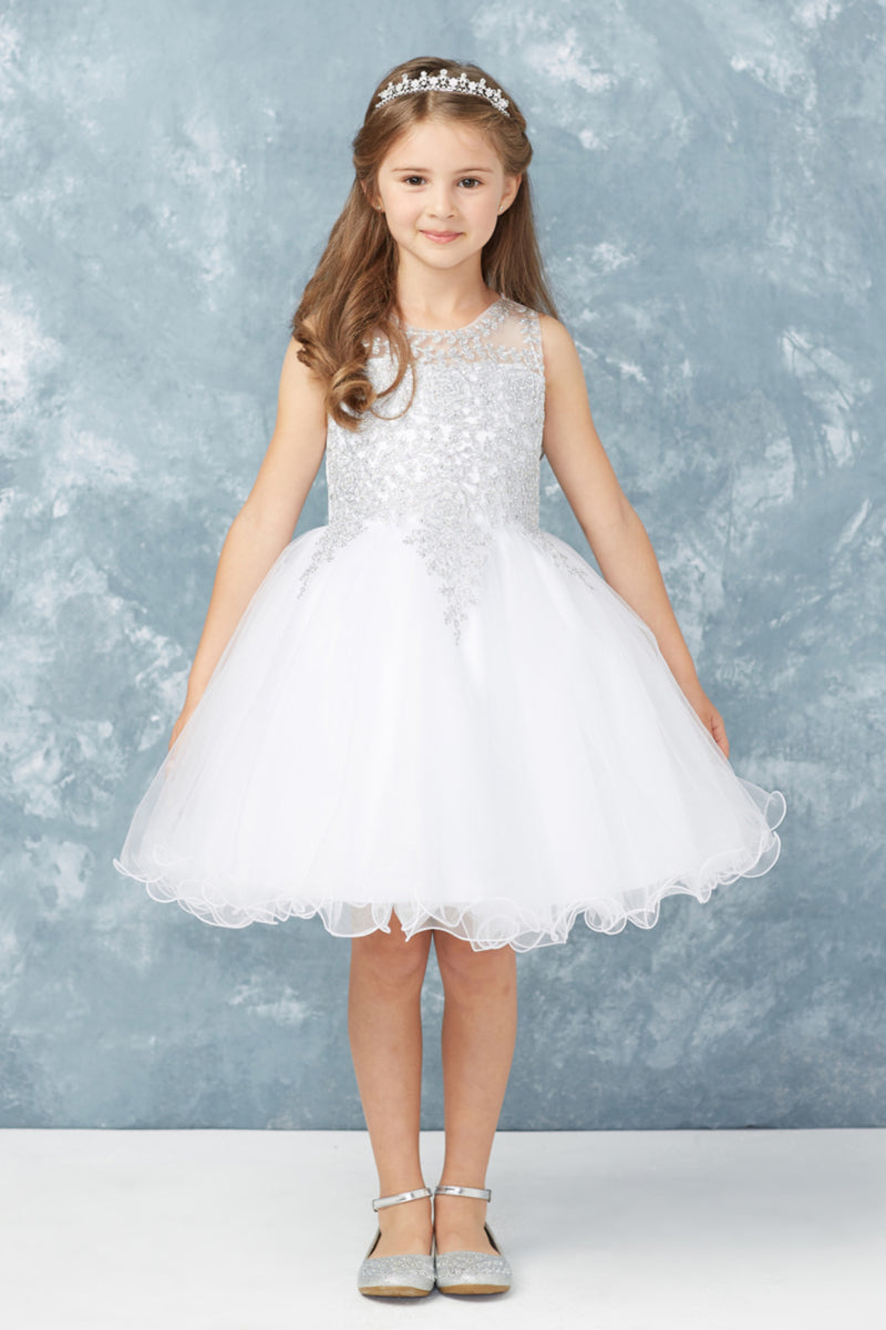 white first communion Dress with embroidery embellishments from carmens designs toronto