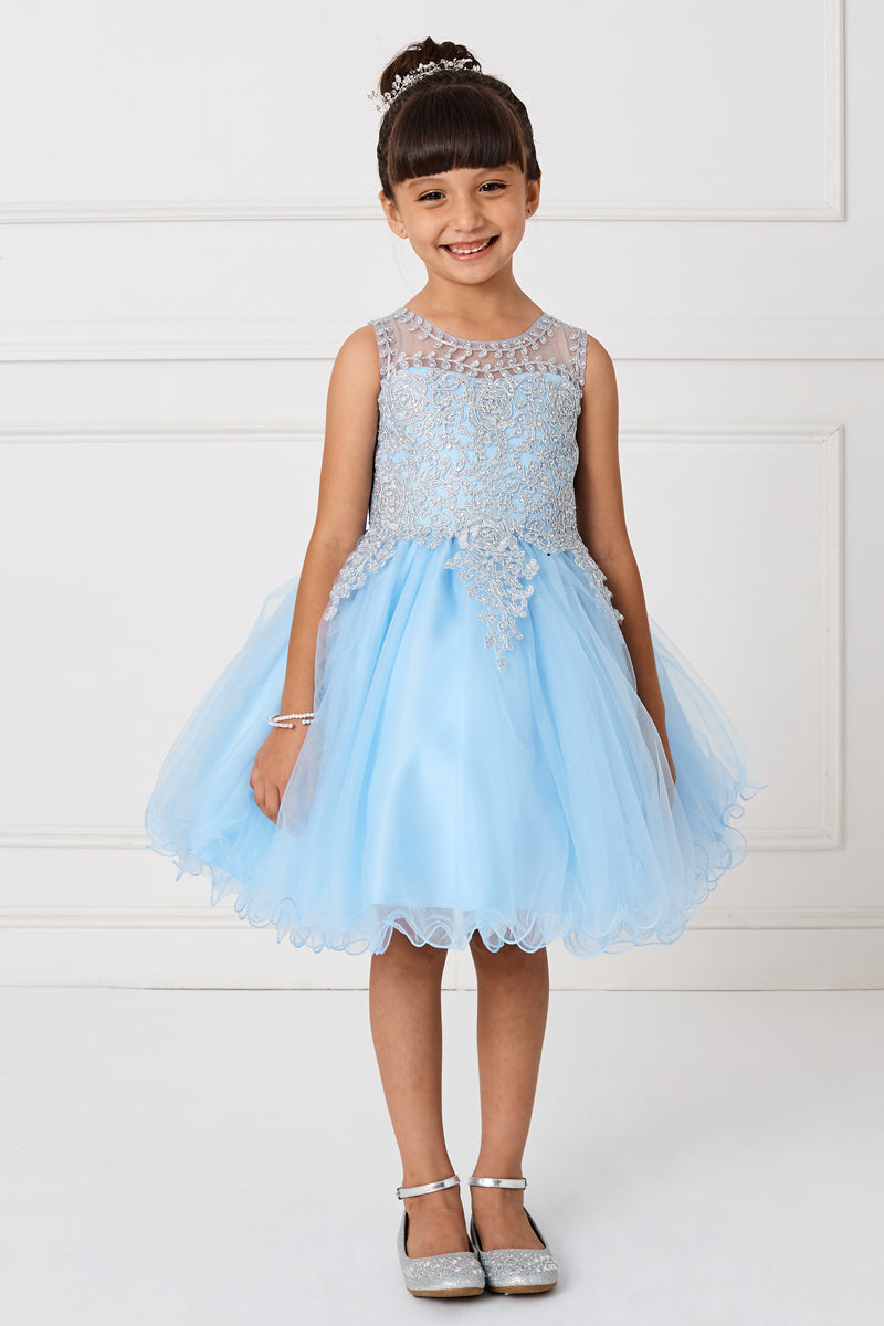 sky blue flower girl dress with gold embroidery embellishments from carmens designs toronto