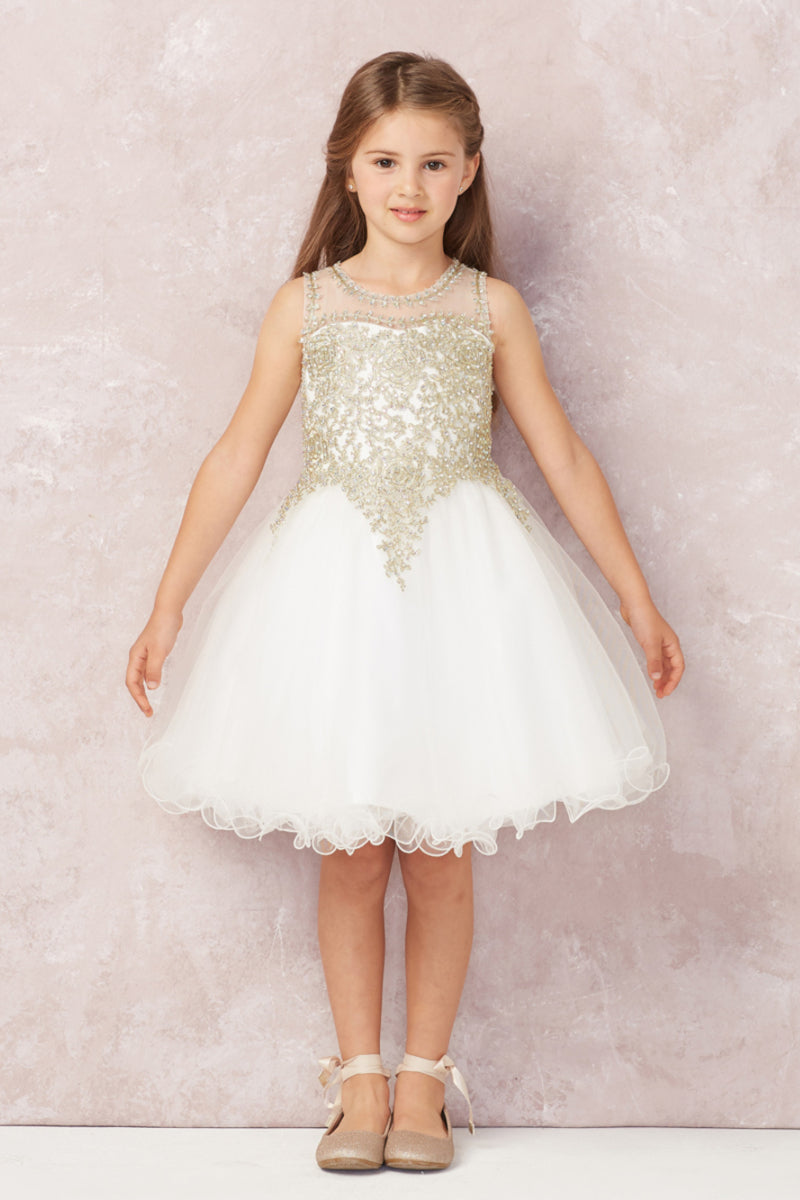 ivory flower girl Dress with gold embroidery embellishments from carmens designs toronto