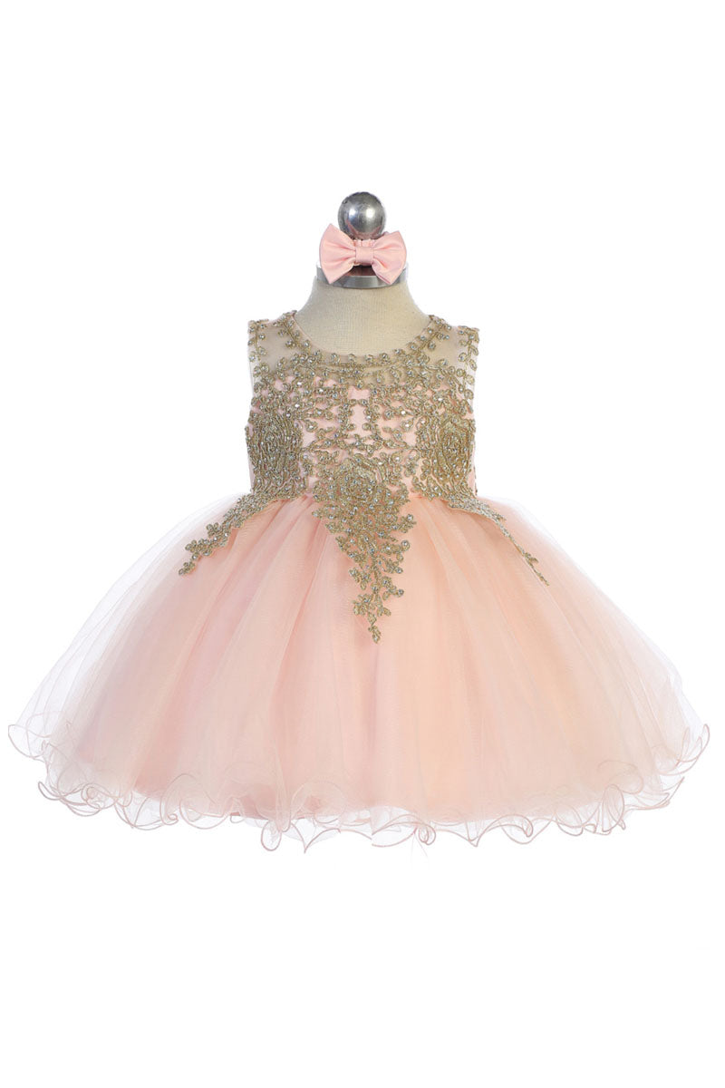 blush baby girl flower dress with Gold embroidery embellishments available at carmens designs toronto
