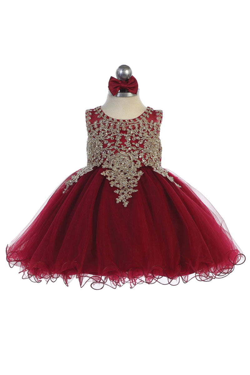 burgundy baby girl flower dress with Gold embroidery embellishments available at carmens designs toronto