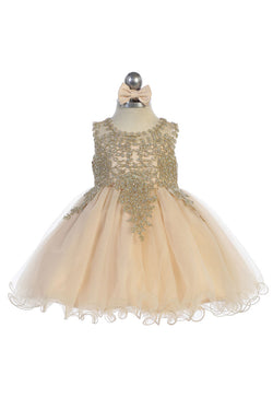 baby girl flower dress with Gold embroidery embellishments available at carmens designs toronto