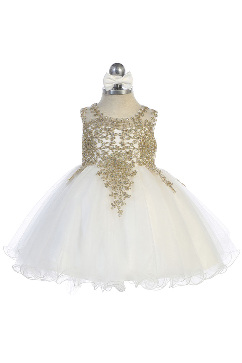 ivory baby girl flower dress with Gold embroidery embellishments available at carmens designs toronto