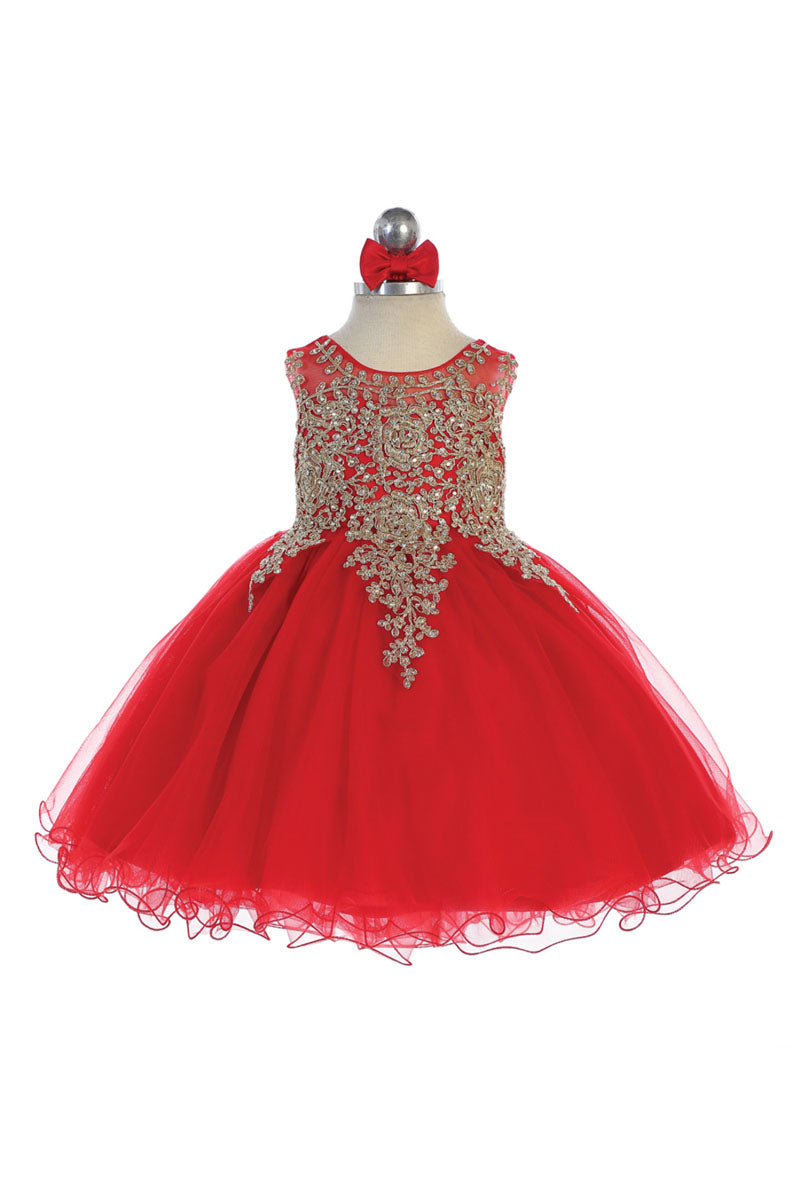 red baby girl flower dress with Gold embroidery embellishments available at carmens designs toronto