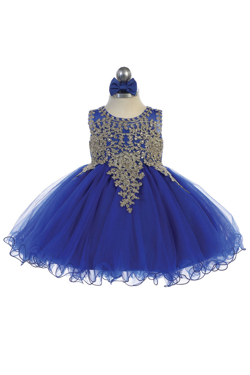 royal blue baby girl flower dress with Gold embroidery embellishments available at carmens designs toronto