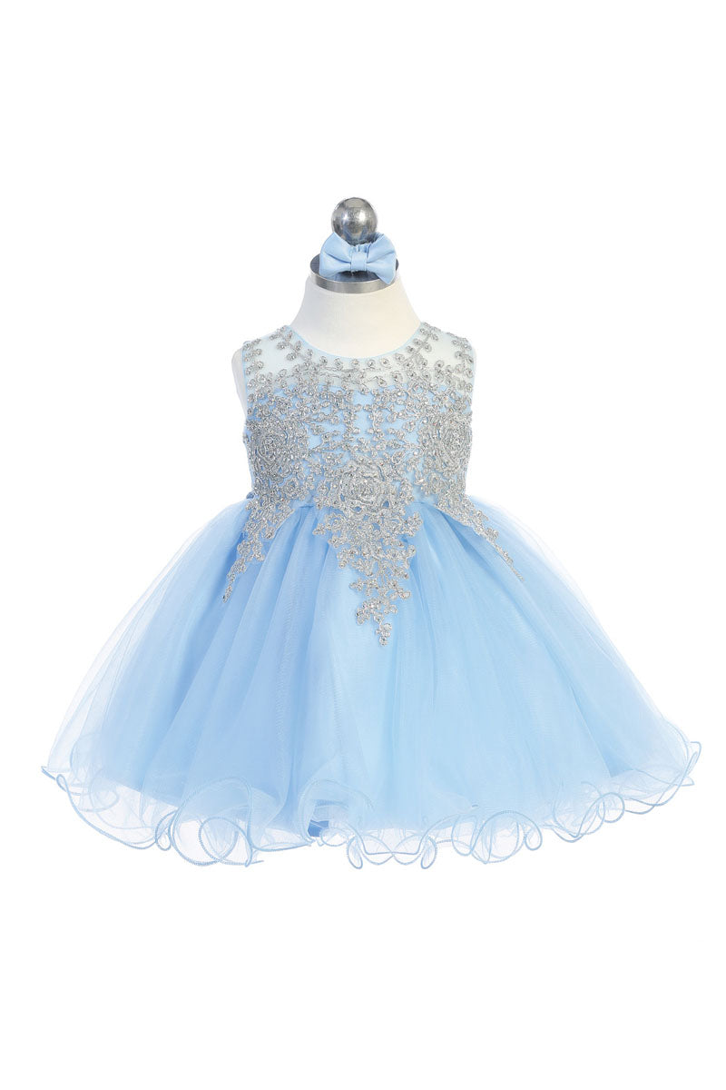 sky blue baby girl party dress with embroidery embellishments available at carmens designs toronto
