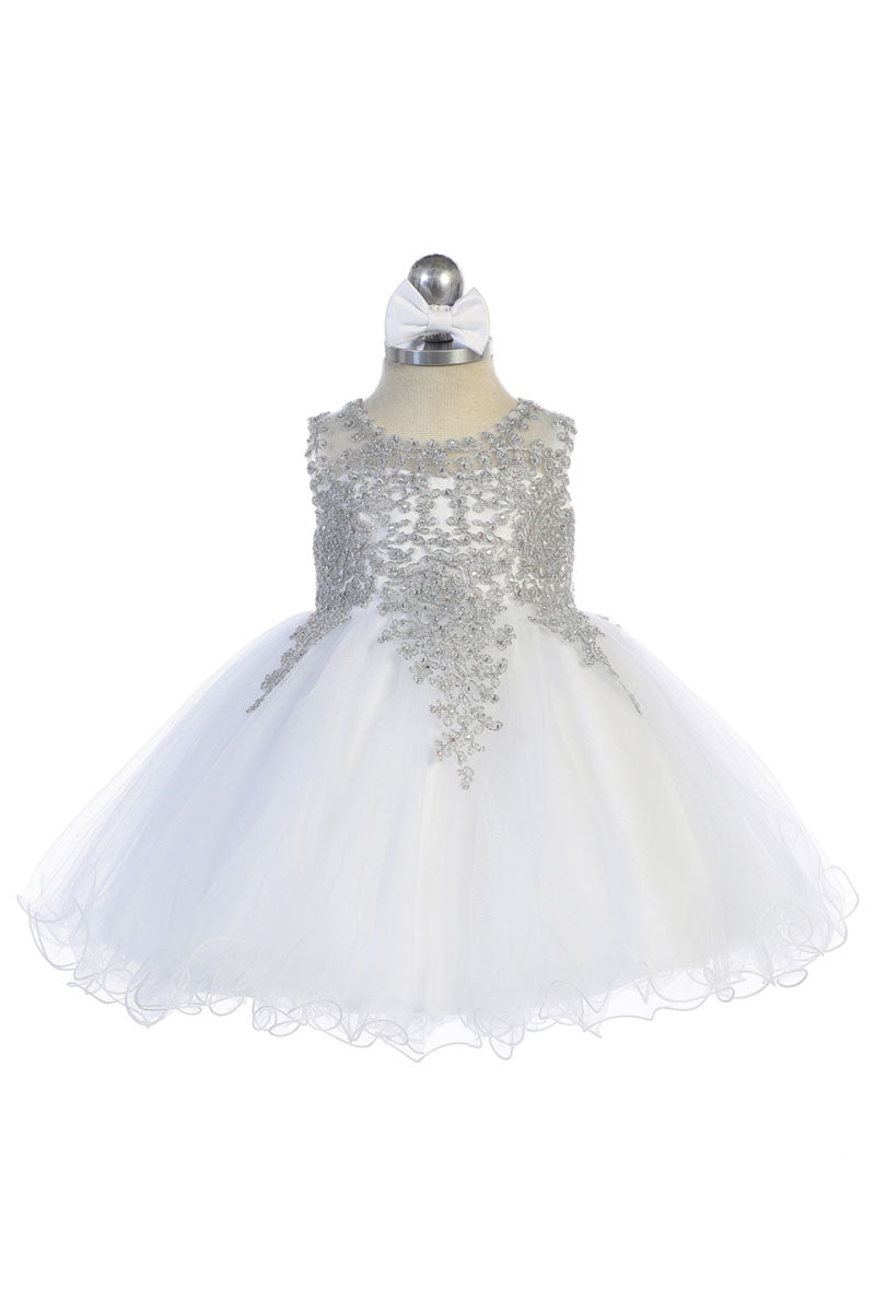 white baby girl flower dress with embroidery embellishments available at carmens designs toronto