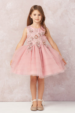 Short Layered Tulle skirt with Lace Applique flower girl dress
