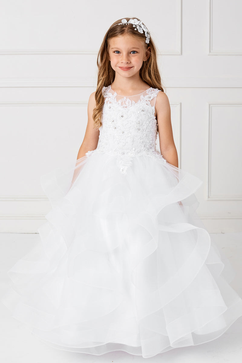white Flower Lace Bodice With Ruffled Horsehair Mesh Bottom dress for first communion