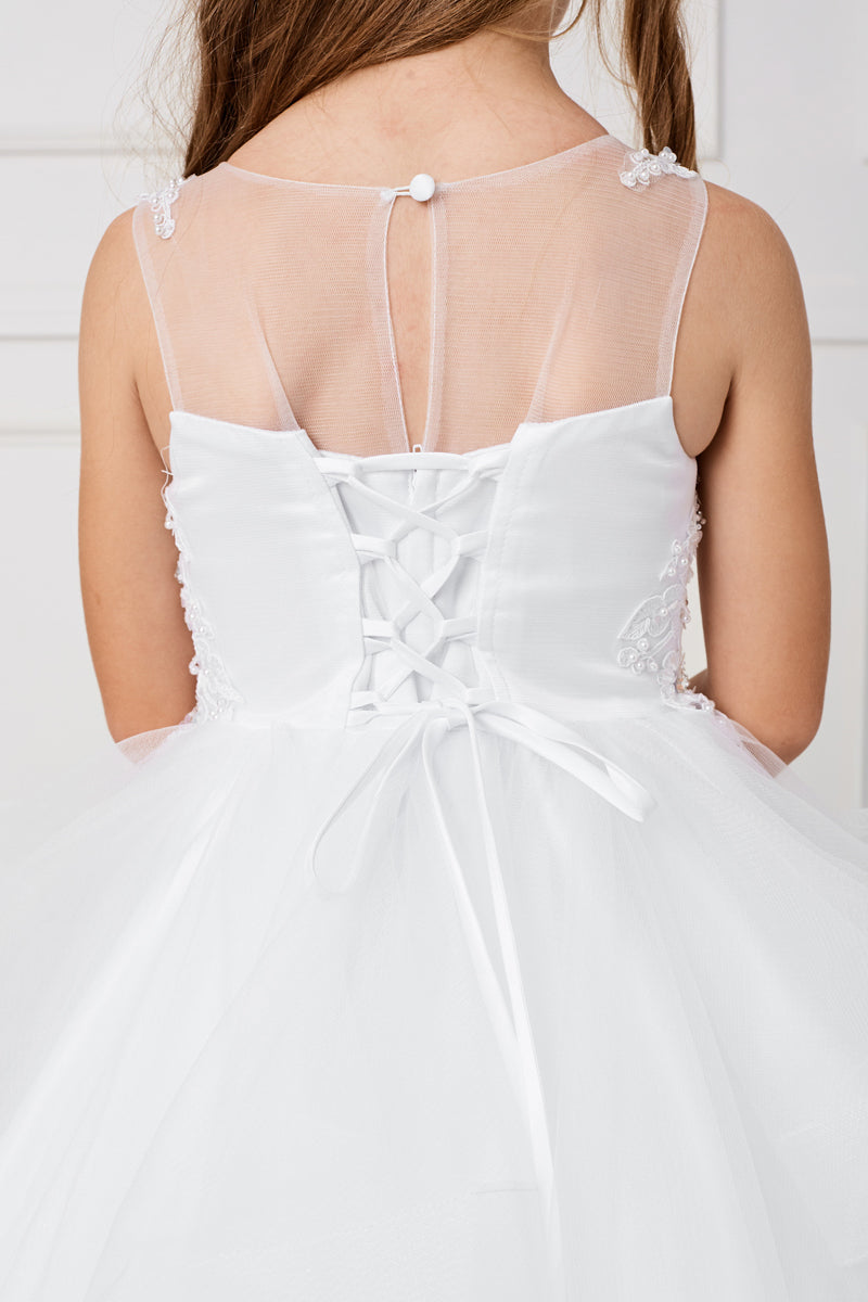 white first communion dress with illusion neckline with zipper and corset ties at the back