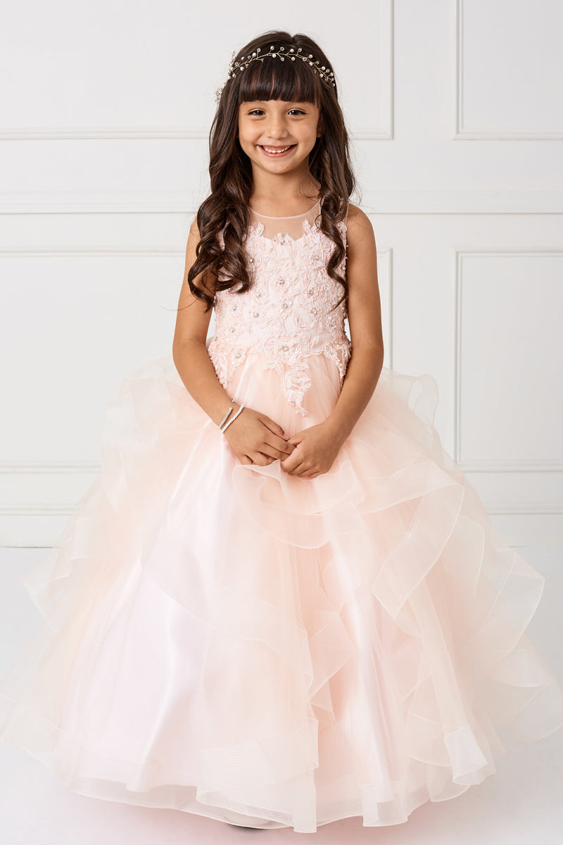 blush flower girl dress with Flower Lace Bodice and Ruffled Horsehair Mesh Bottom