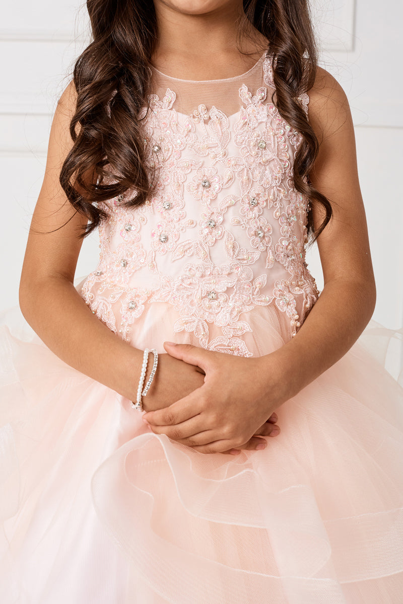 blush flower girl dress with crystal Lace applique Bodice and Ruffled Horsehair Mesh Bottom from carmens designs