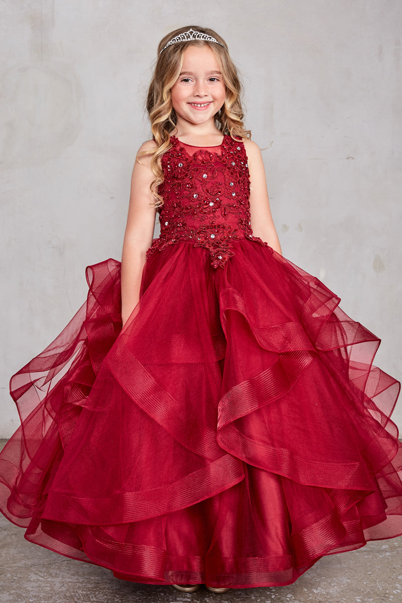 red party dress with Flower Lace Bodice and Ruffled Horsehair Mesh Bottom available at carmens designs toronto