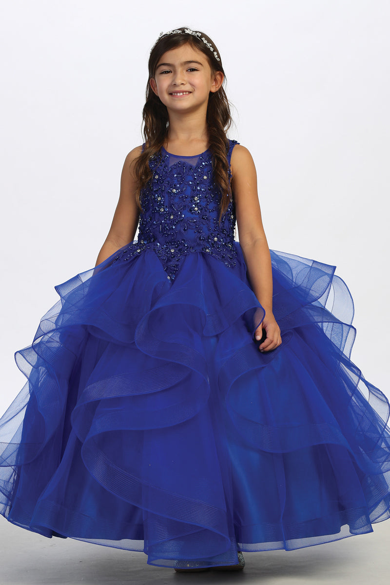 carmens designs royal blue special occasion dress with crystal Lace Bodice and Ruffled Horsehair Mesh Bottom
