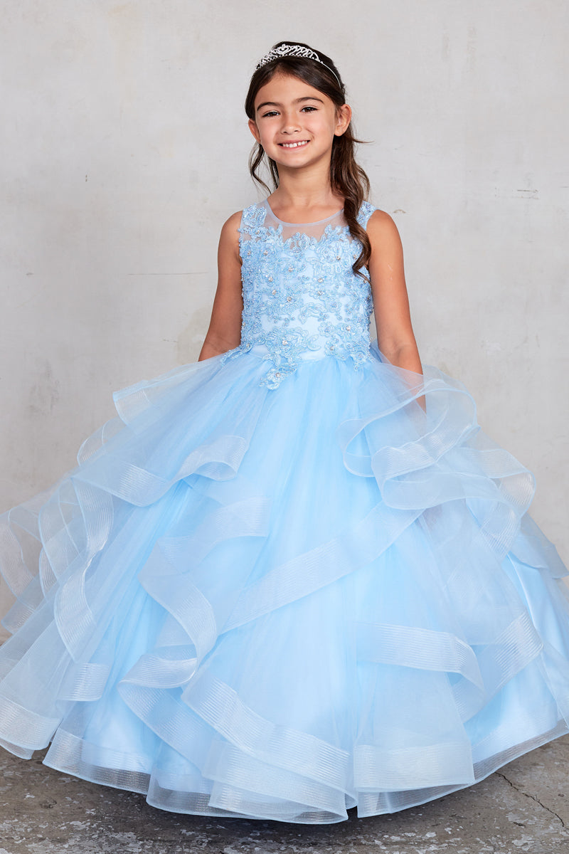 sky blue flower girl dress with  Lace and pearls applique Bodice and Ruffled Horsehair Mesh Bottom available at carmens designs toronto