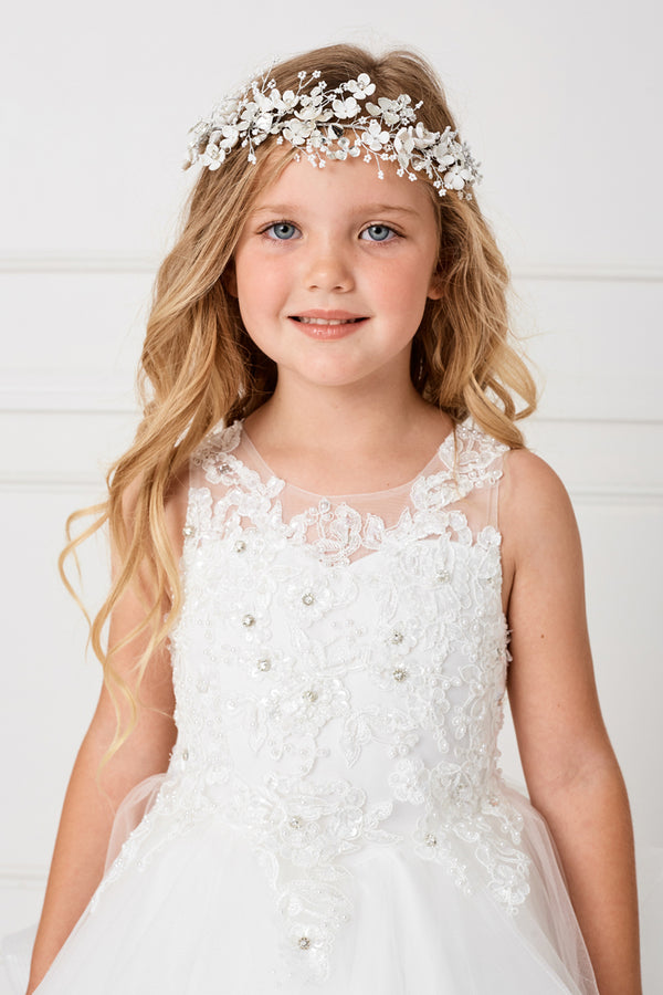 Flower Lace Bodice With crystal and pearls accent in white for first communion