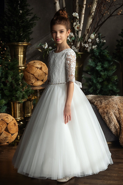 teter warm quarter sleeve lace bodice with tulle skirt