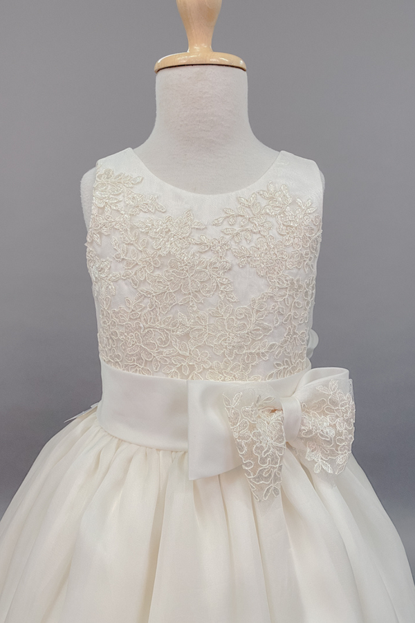 carmens designs custom made Ivory flower embroidered bodice with bow dress