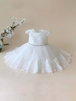 Baby Girl baptism dress with Lace Cap Sleeves and Tulle Bottom With Lace Hem teter warm