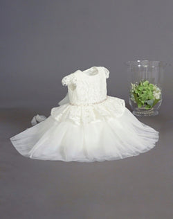 baby girl baptism dress with Lace Bodice With Cap Sleeves and Peplum Tulle Bottom from teter warm