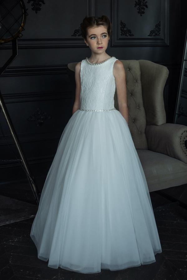 carmens designs communion dress with pearl neckline lace bodice with tulle bottom dress