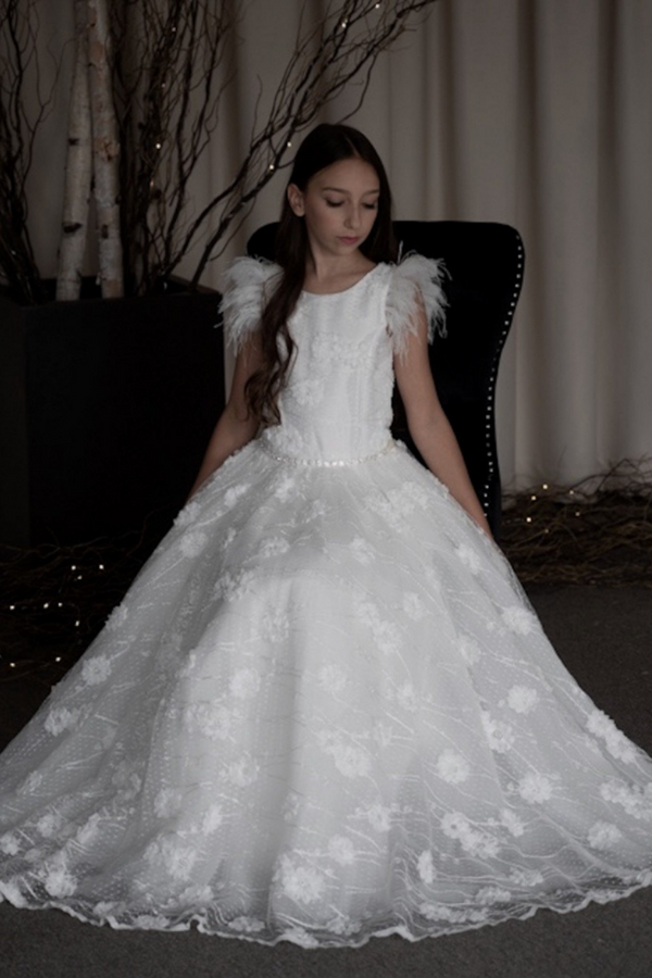 carmens designs communion dress toronto feather sleeves with floral vine embroidered bodice and skirt